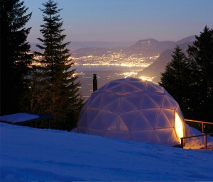 winter geodesic dome