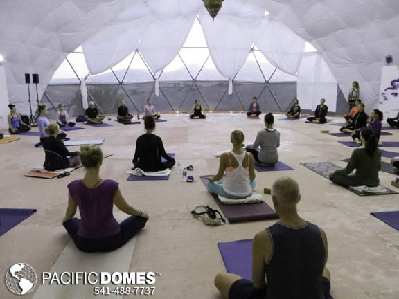 Yoga dome by pacific domes of oregon, builders of geodesic dome tents for yoga retreats, meditation retreats,