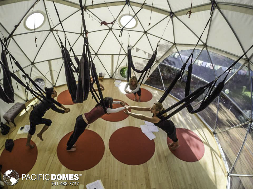 geodesic domes and yoga swings