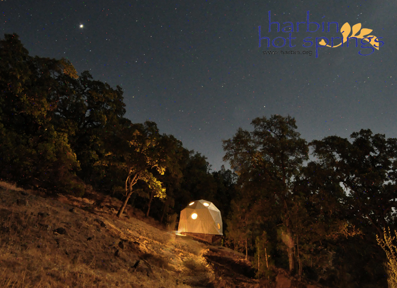 Tent cabins at Harbin are located near the Domes and near the creekside camping area.