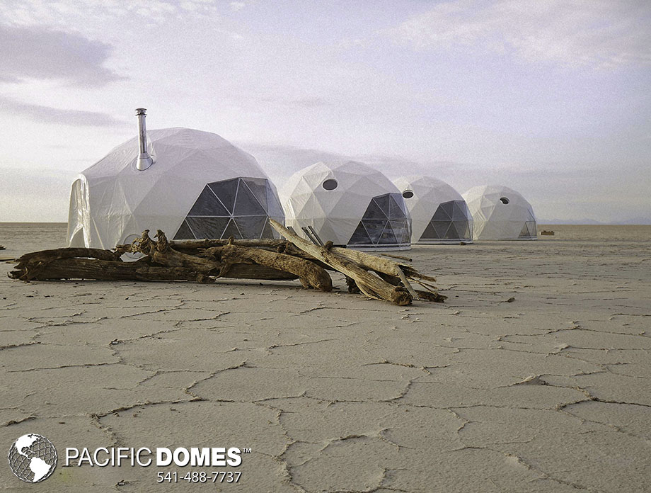 Multiple Glamping Domes on the beach