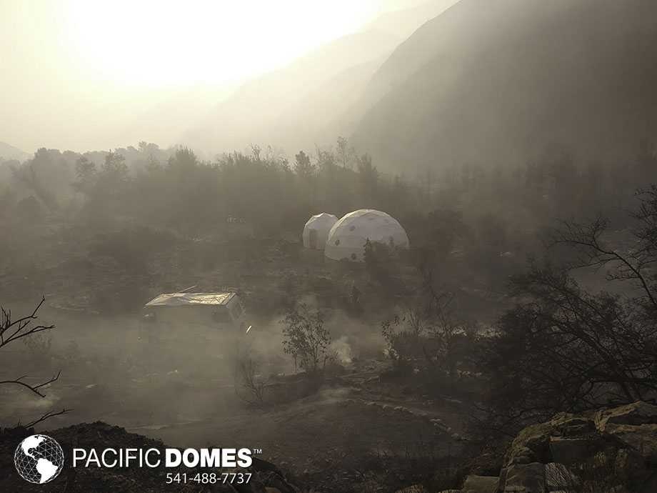 Domes survive wildfire