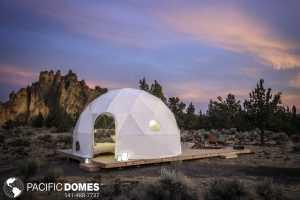 Geodesic Dome under Sunset Skies