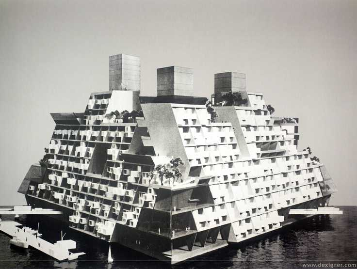 Image result for In 1967, Buckminster Fuller developed a concept for an offshore floating city, the Triton City Project. Triton was a concept for an anchored floating city that would be located just offshore and connected with bridges to the mainland. It was a collection of tetrahedral structures with apartments, etc.