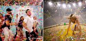 Happy people enjoying the geodesic Confetti Dome