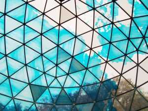 The dome is a transparent blue representation of Spaceship Earth