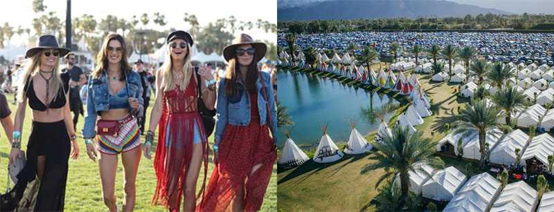 Coachella fashion and camping scene