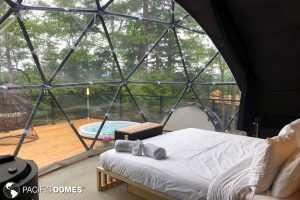 dome bay window, glamping dome, dome interior