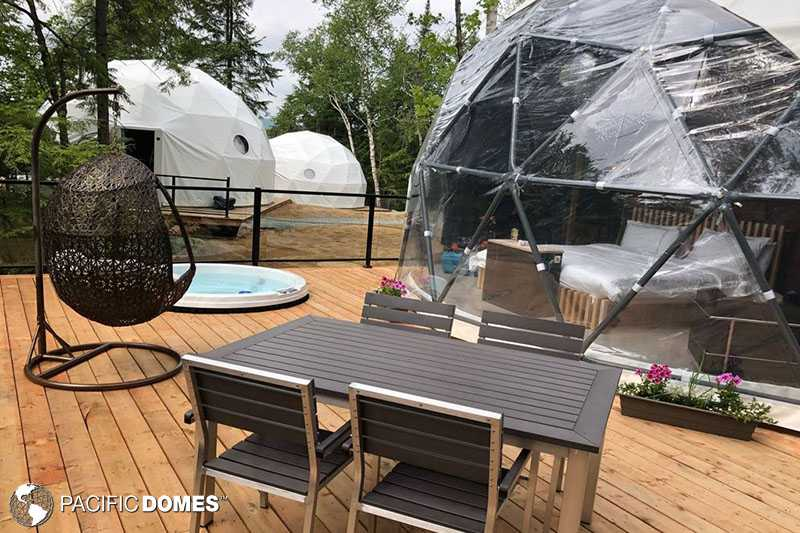 Love Nest dome, Mont Tremblant domes, Mont Tremblant dome glamping