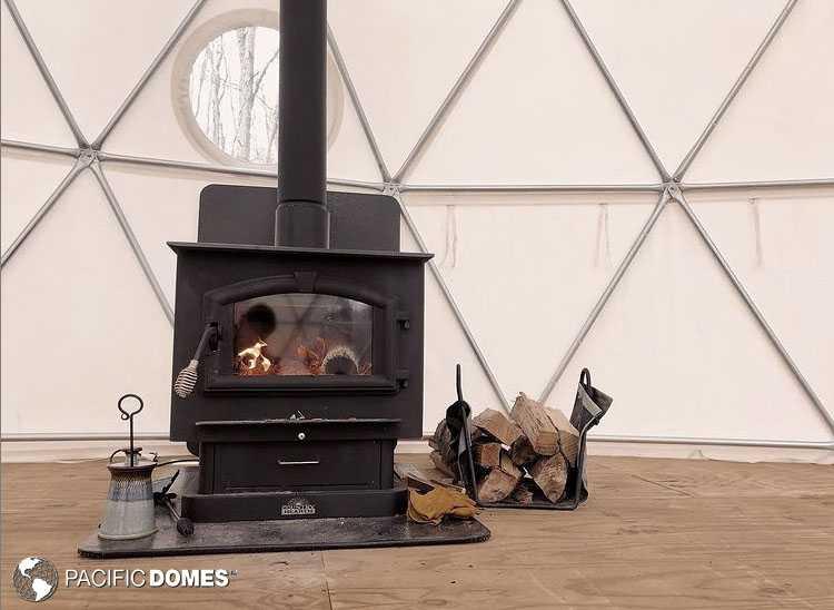Yoga Dome with wood stove