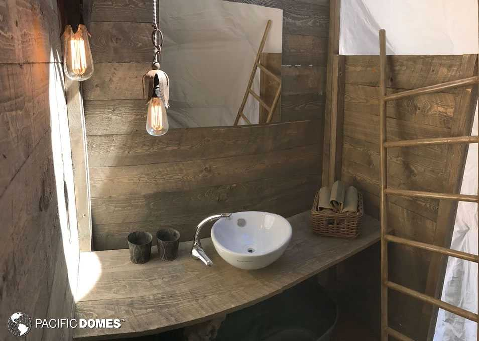 dome bathroom, custom dome, dome home, glamping dome
