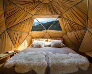 Eco-camp Patagonia dome interior