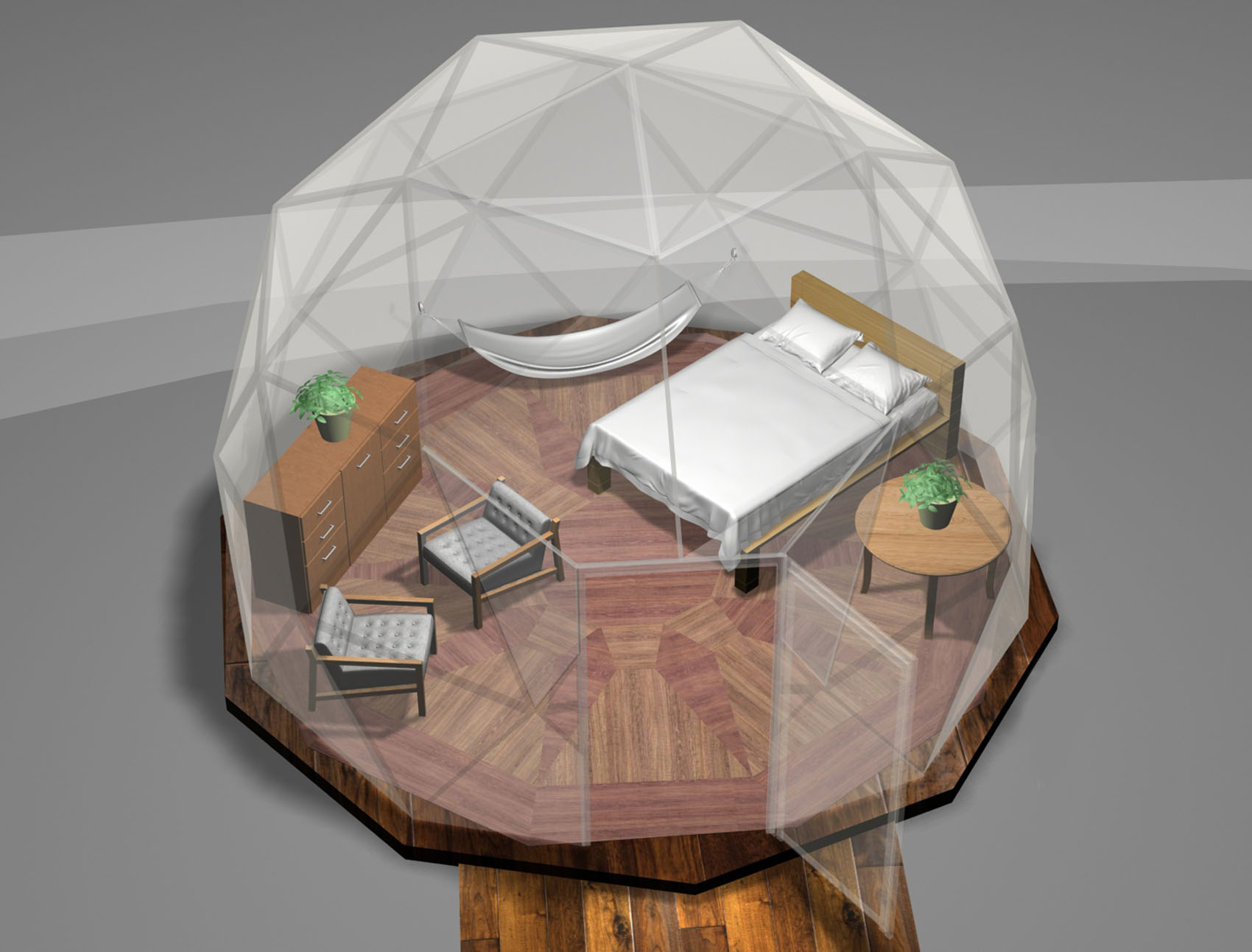 16' tall dome with queen size bed