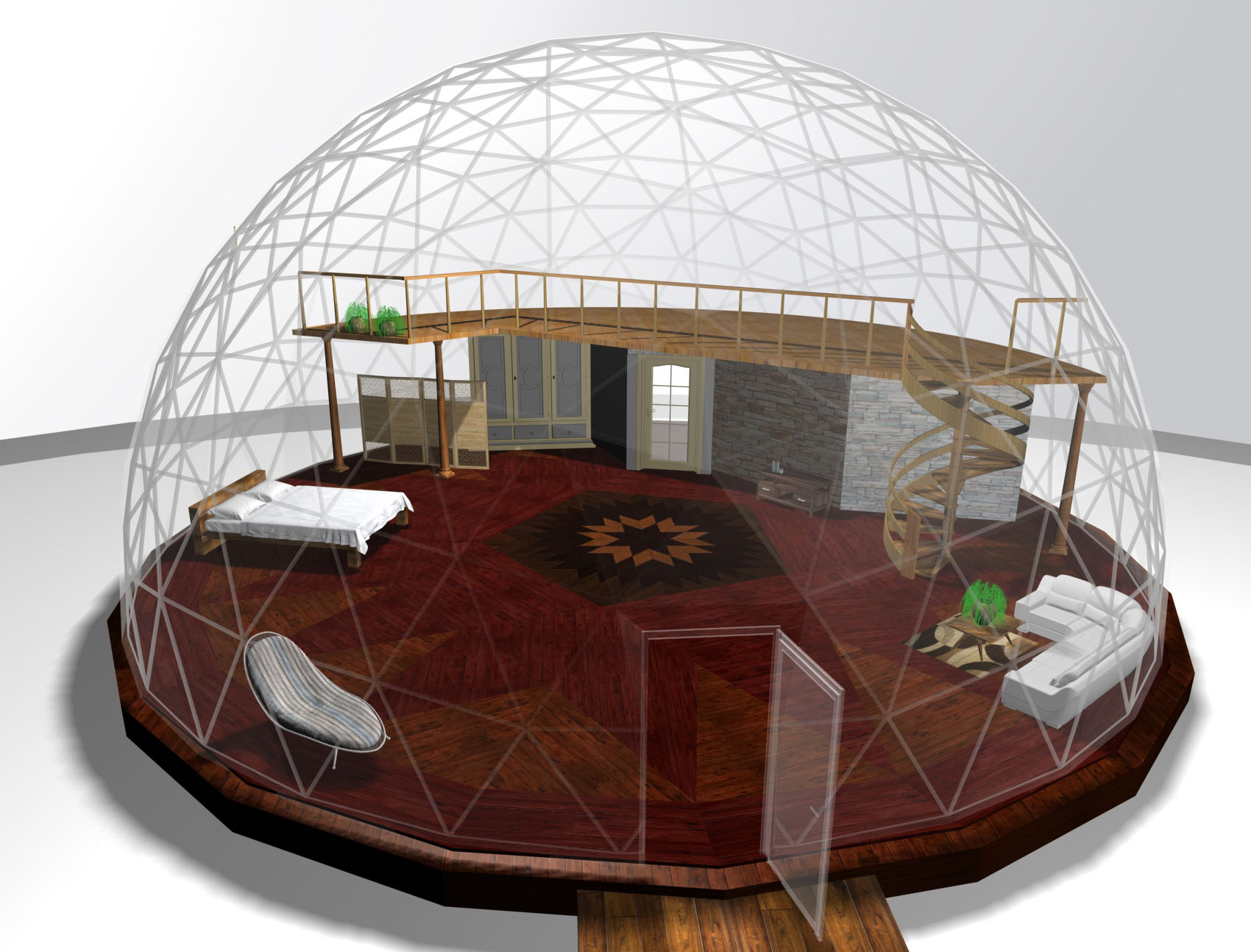 44' dome with king size bed