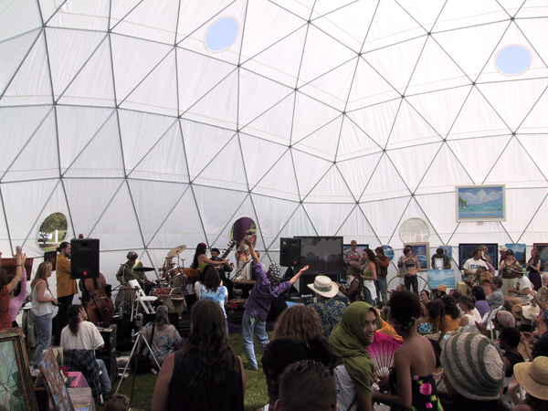 Whole Earth Festival Dome. Pacific Domes festival tent, dome shelter at UC Davis, California