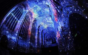 Saint-Eustache Church with projections for Nuit Blanche