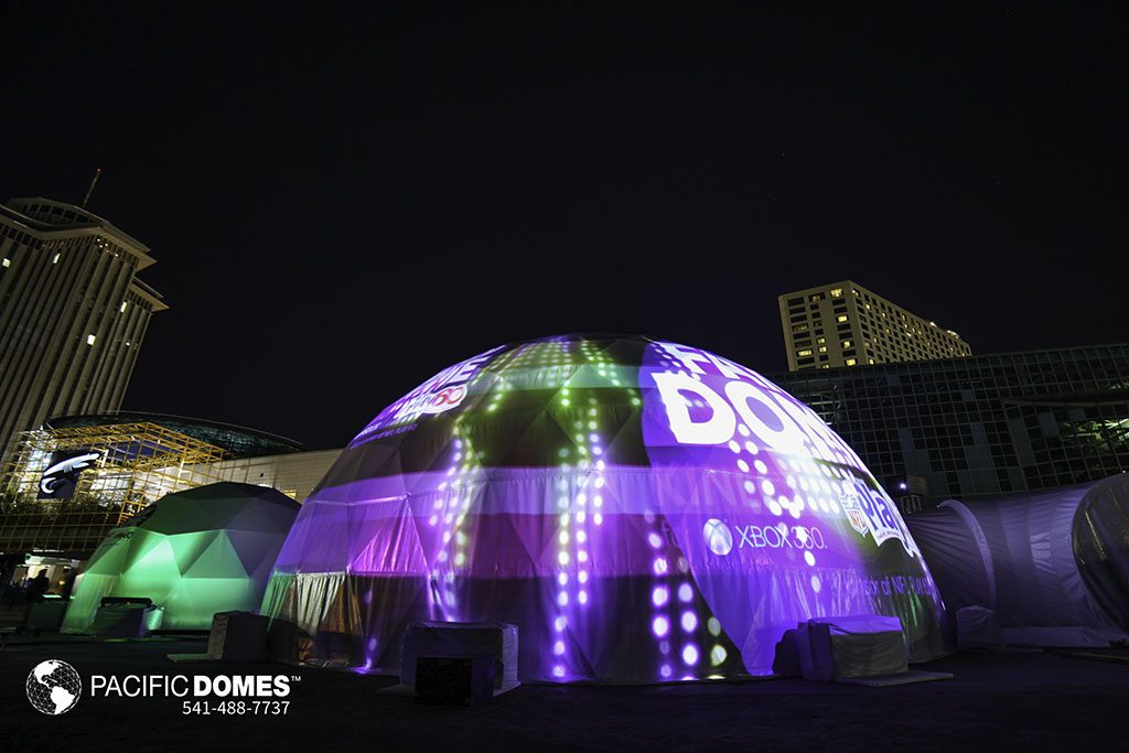 Pacific Domes, event tents, event domes, Microsoft, XBox,, illumination dome, projection theater, projection theatre, VR sphere
