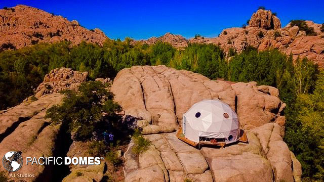 yoga dome perched atop a rock!