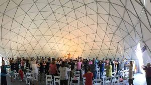 Mingtong Gu teaching in a Dome