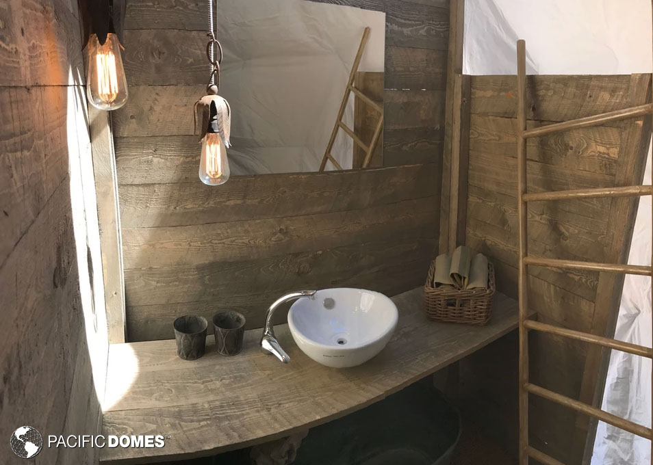 dome bathroom, custom dome, dwell dome, glamping dome